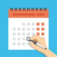 48482328 - hand with pen mark calendar. important event concept. modern flat design concepts for web banners, web sites, printed materials, infographics. creative vector illustration