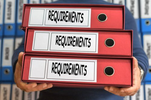 Requirements concept words. Folder concept. Ring binders.
